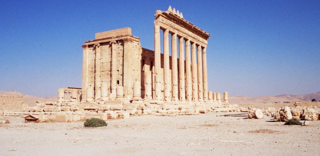 The Temple of Bel, in the ancient Syrian city of Palmyra, as photographed in November 2004.