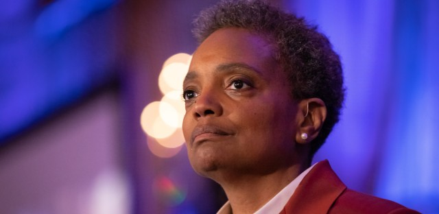 Lori Lightfoot commands the podium during her acceptance speech after winning the Chicago mayoral election on April 2, 2019. On Wednesday, Lightfoot proposed an ordinance that would allow the release of some inspector general reports.