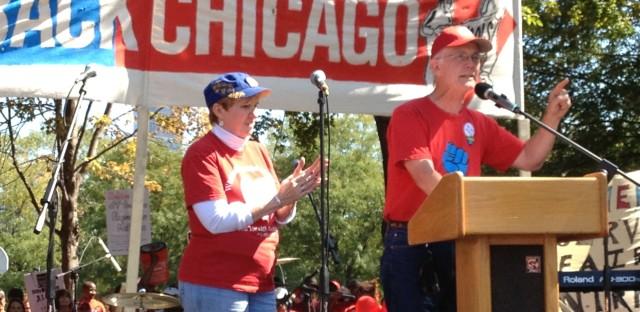 Bob Peterson, the president of the Milwaukee Teachers Education Association, addresses the crowd.