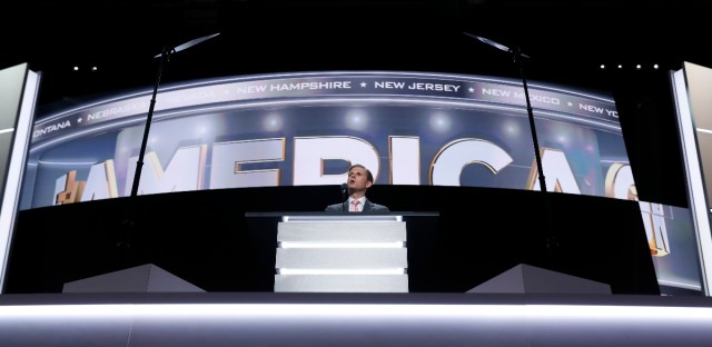 Eric Trump, son of Republican Presidential nominee Donald J. Trump, speaks during the third day session of the Republican National Convention in Cleveland, Wednesday, July 20, 2016.