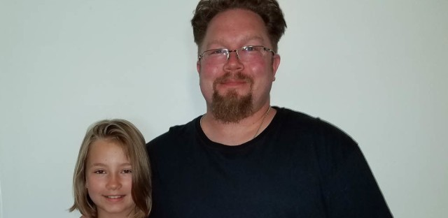 Leila Ramgren, 10, and her father, Chad Eisen-Ramgren, 42, at StoryCorps in St. Paul, Minn.