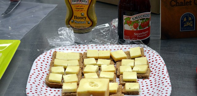 Three month aged Limburger on brown bread with honey mustard and strawberry preserves