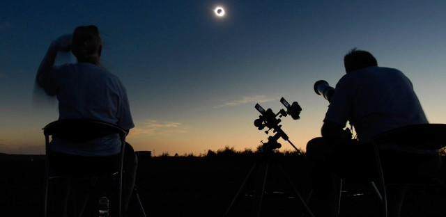 Retired astrophysicist Fred Espenak (right) and his wife, Patricia, photographed a total solar eclipse from Jinta, China, on Aug. 1, 2008. He has witnessed 27 such events and plans to be in Casper, Wyo., on Aug. 21 — depending on the forecast.
