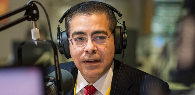 Attorney General candidate Jesse Ruiz at the WBEZ studios in January 2018.