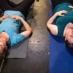 The key exercise is typically performed while sitting crossed-legged, standing up or on all fours. But during Keller's four-week class, she teaches many versions of the exercises. Tania Higham (left) and Maeve Clancy do a version laying on their backs.