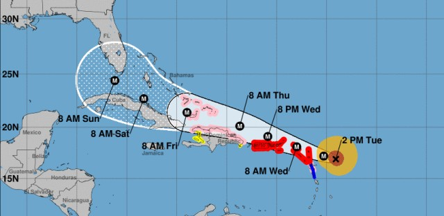 """Irma is """"potentially catastrophic"""" and is expected to remain a major hurricane as it makes its way west toward the U.S. mainland's coast, forecasters say."""