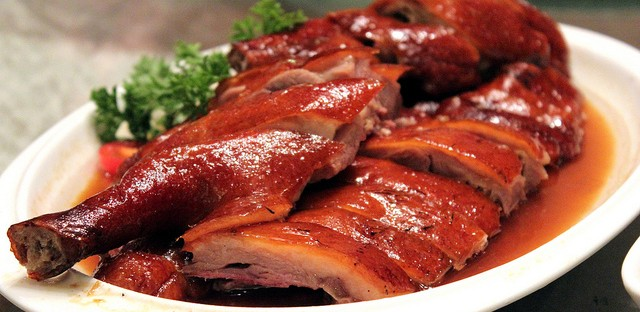 Tea smoked goose at Xin Wang Tea Restaurant in Shanghai, China
