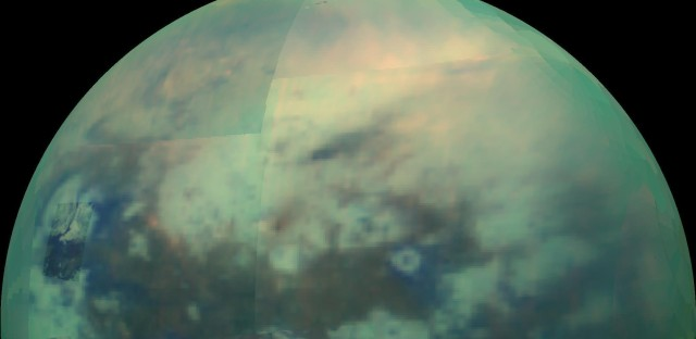 A composite returned in December 2015 shows an infrared view of Saturn's moon Titan.