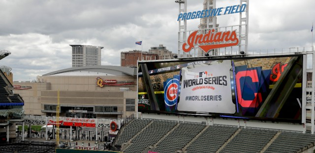 Progressive Field, home of the Cleveland Indians, is setup for baseball's upcoming World Series against the Chicago Cubs.