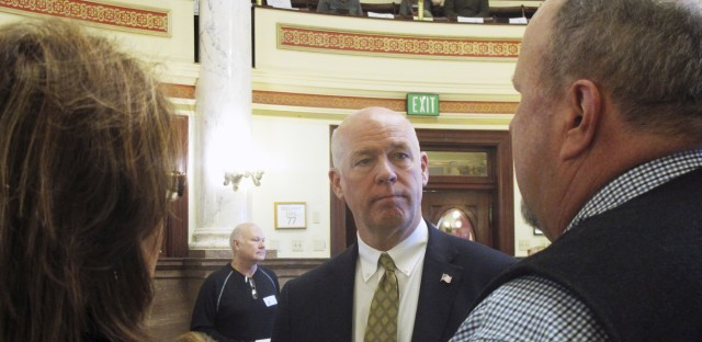 Technology entrepreneur Greg Gianforte speaks to Republican delegates before a candidate forum in Helena, Mont., last month.