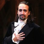"Lin-Manuel Miranda performs on Hamilton's opening night in August 2015. ""It was an enormous challenge to do that show every night,"" he says."