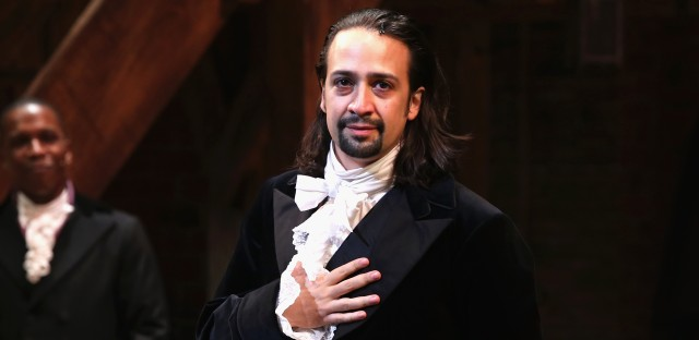 """Lin-Manuel Miranda performs on Hamilton's opening night in August 2015. """"It was an enormous challenge to do that show every night,"""" he says."""