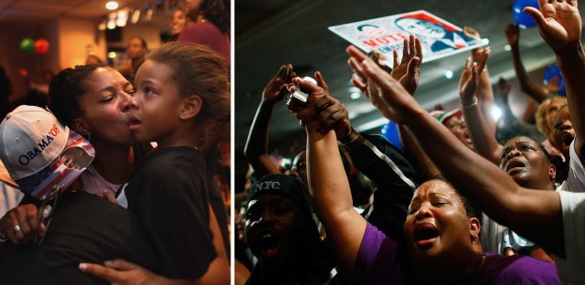 L: Shaunna Stribling kisses her daughter Rajha Davis, 6, in Denver after Barack Obama won the presidential election on Nov. 4, 2008. R: Obama supporters celebrate his win in Birmingham, Ala.