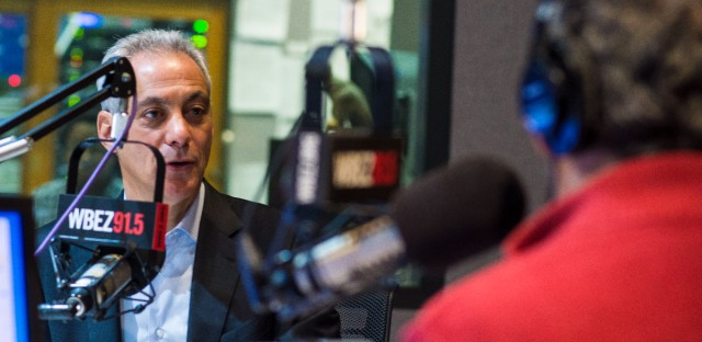 Chicago Mayor Rahm Emanuel seen here at WBEZ studios in December 2017
