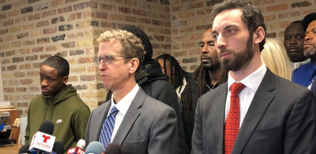 Attorney Jon Loevy announces 19 new federal lawsuits against the city of Chicago related to vacated convictions tied to corrupt former police Sgt Ronald Watts.