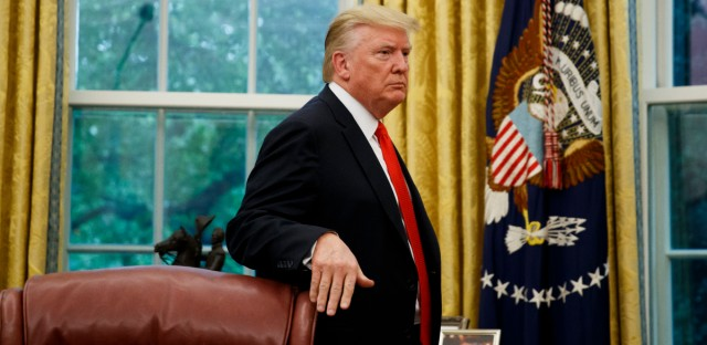 President Donald Trump stands in the Oval Office in this Sept. 5, 2019 file photo.
