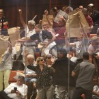 """Activists hold the Israeli Declaration of Independence papers as they protest Jewish nation bill, during a Knesset session in Jerusalem, Wednesday, Aug. 8, 2018. The law, sponsored by Prime Minister Benjamin Netanyahu's Likud party and passed by parliament last month, endorsed the country's identity as the nation-state of the Jewish people. But it also downgraded Arabic from an official language to one of """"special standing"""" and emphasized """"developing Jewish settlement as a national value."""""""