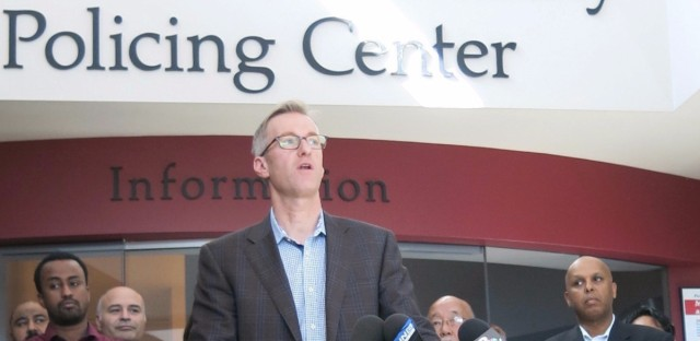 Portland Mayor Ted Wheeler speaks at a news conference in Portland on Saturday, after a man fatally stabbed two men Friday on a light-rail train when they apparently tried to stop him from yelling anti-Muslim slurs at two young women. Wheeler has since called for two planned demonstrations in Portland to be called off.