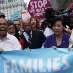 Democratic members of Congress protest the Trump family separate policy. From left to right: Reps. Joseph Crowley, Luis Gutierrez, Pramila Jayapal, John Lewis and Judy Chu.
