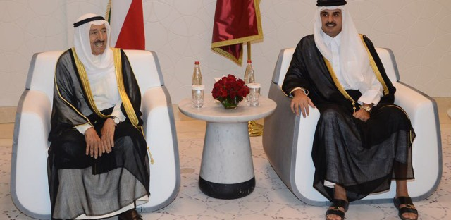Kuwaiti Emir Sheikh Sabah Al Ahmad Al Jaber Al Sabah (left) met with Qatari Sheikh Tamim bin Hamad Al Thani in Doha, Qatar, earlier this month as the Kuwaiti leader tried to mediate an end to the regional crisis. But analysts warn there will be no quick or easy resolution.