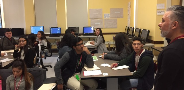 Ray Salazar teaches AP English Language at Hancock College Prep. On Nov. 9, 2016, his class did a writing exercise using Donald Trump's acceptance speech and Hillary Clinton's concession speech.
