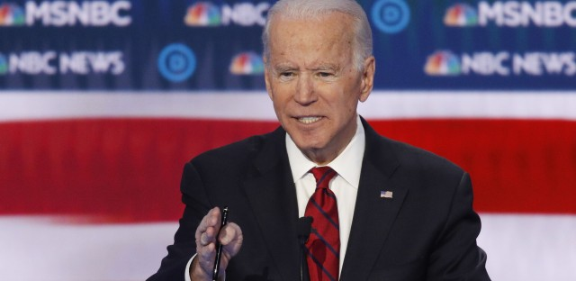 Former Vice President Joe Biden speaks during the debate, hosted by NBC News and MSNBC.