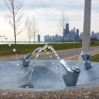 The continuous fountains started as early as April 19, when this photo was taken at on Lakefront Trail at Fullerton.