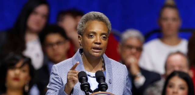 In this May 20, 2019, file photo, Mayor of Chicago Lori Lightfoot speaks during her inauguration ceremony. Mayor Lightfoot announced July 9 that the city halted its water meter program due to high lead levels found in some homes.