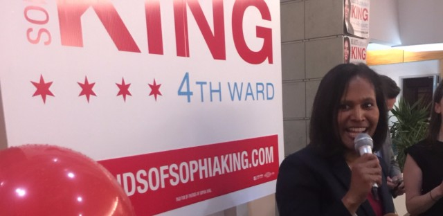 Appointed Ald. Sophia King speaks after winning a 4th Ward special election Tuesday.