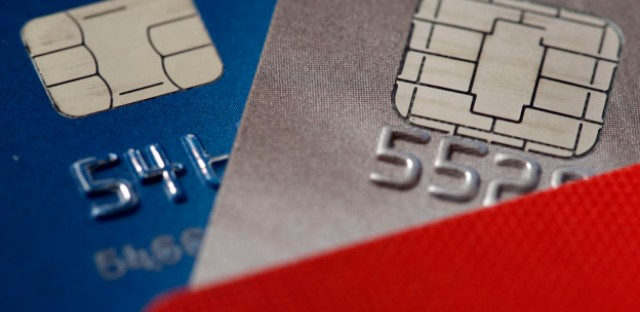 Credit cards with chips are pictured in Philadelphia on June 10, 2015