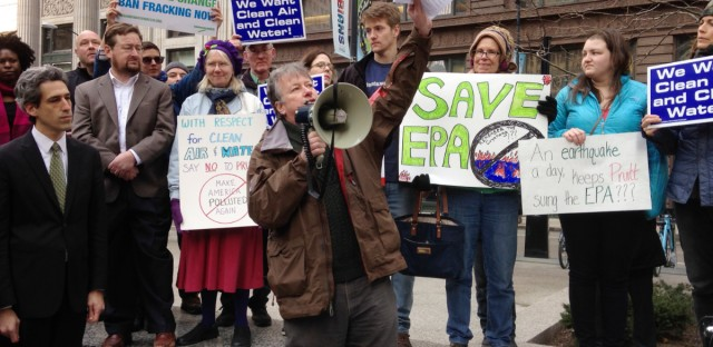 U.S. Environmental Protection Agency chemist Wayne Whipple speaks to a crowd gathered in Chicago, Monday, Feb. 6, 2017, to protest the nomination of Scott Pruitt for administrator of the agency. Pruitt is President Donald Trump's pick to head the agency. EPA employees and environmental activists attended the rally during the lunch hour.