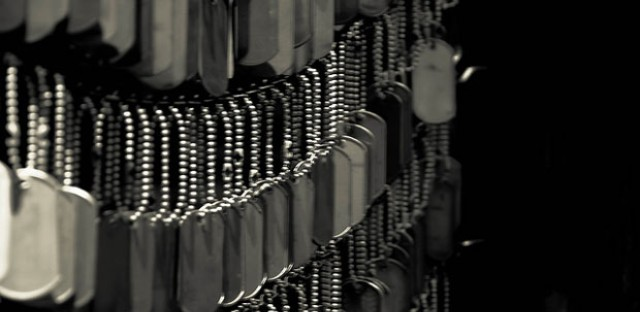 Hanging dog tags.