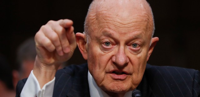 In this Monday, May 8, 2017, file photo, former National Intelligence Director James Clapper testifies on Capitol Hill in Washington.