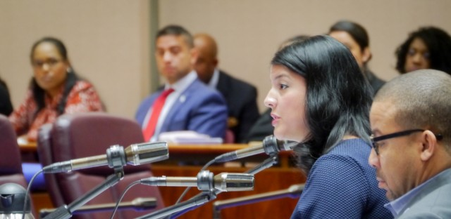 Chicago City Clerk Anna Valencia proposed changes to the city's sticker fees at the City Council budget hearing last October.