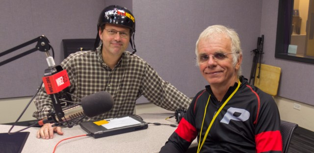 Danish Journalist Lars Toft Rasmussen poses in studio with Worldview's Jerome McDonnell.