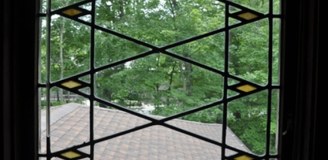 The pattern of the art glass windows was created especially for the house.