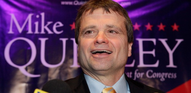 Democratic Cook County Commissioner Mike Quigley, addresses supporters in Chicago, Tuesday, March 3, 2009 after winning the Democratic primary for the 5th Congressional seat vacated by U.S. Rep. Rahm Emanuel who left Congress to be President Barack Obama's chief of staff.