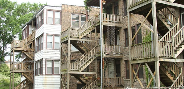 The zig-zag of wooden porches, both enclosed and exposed, are a common sight from many of Chicago's back alleys.