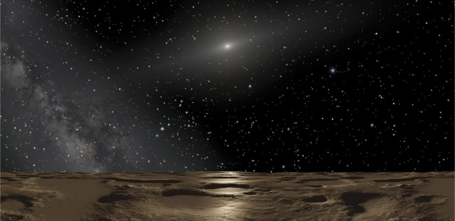 """An artist's conception of the view from the dwarf planet Sedna. <a href=""""http://www-personal.umich.edu/~gerdes/"""">David Gerdes</a> of the University of Michigan says the surface of 2014 UZ224 would look much the same."""