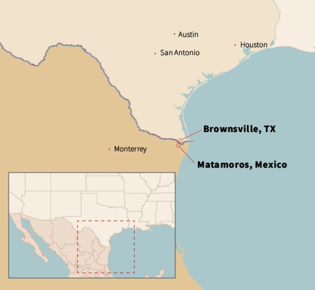 a map locating Brownsville, TX and Matamoros, Mexico