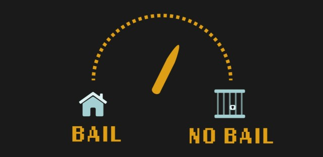 A dial halfway between bail and no bail, with icons indicating that bail means a person awaits their trial at home, while no bail means they await their trial in jail