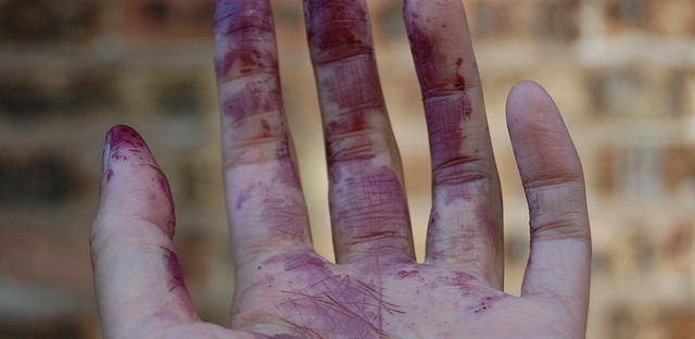Mulberry stained hand