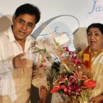 Singer Jagjit Singh, left, speaks as Lata Mangeshkar laugh at the launch of the latters hindi music album 'Saadgi' or Simplicity, on World Music Day, in Mumbai, India, Thursday, June 21, 2007. Mangeshkar has released a music album after a gap of 17 years.