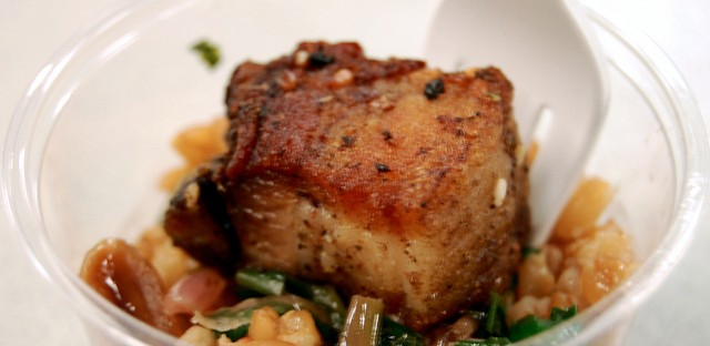Inovasi pork belly, farro verde, and wild ramp salsa