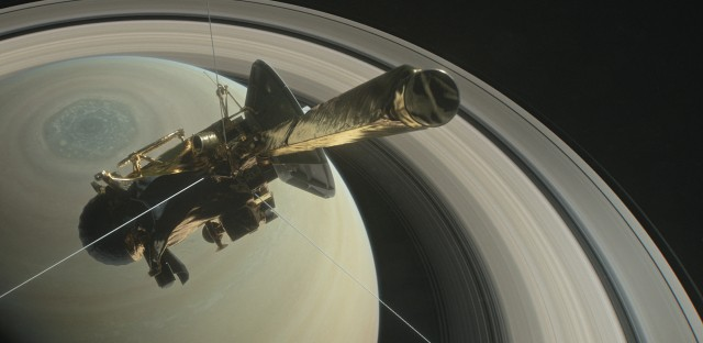 Still from a computer-animated film depicting Cassini's final orbits.