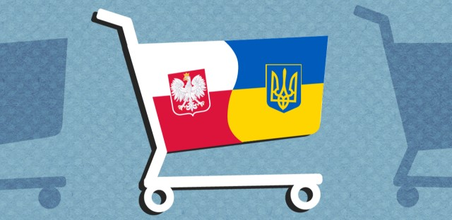 A graphic of a shopping cart emblazoned with the colors and symbols of Poland and Ukraine