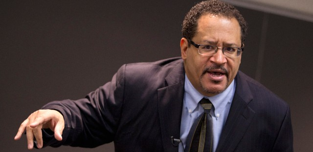 Professor Michael Eric Dyson teaches a sociology course at Georgetown University