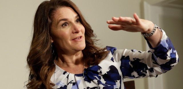 Melinda Gates talks to reporters about the 2016 annual letter from the Bill and Melinda Gates Foundation, in New York, Monday, Feb. 22, 2016.