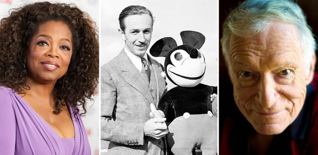 Walt Disney (center), Oprah Winfrey (left), and Hugh Hefner (right) made a list of the state's top 10 entertainers.