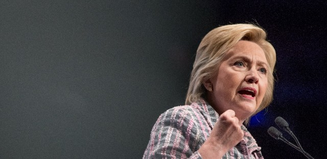 Democratic presidential candidate Hillary Clinton speaks at the 117th National Convention of Veterans of Foreign Wars at the Charlotte Convention Center in Charlotte on Monday.